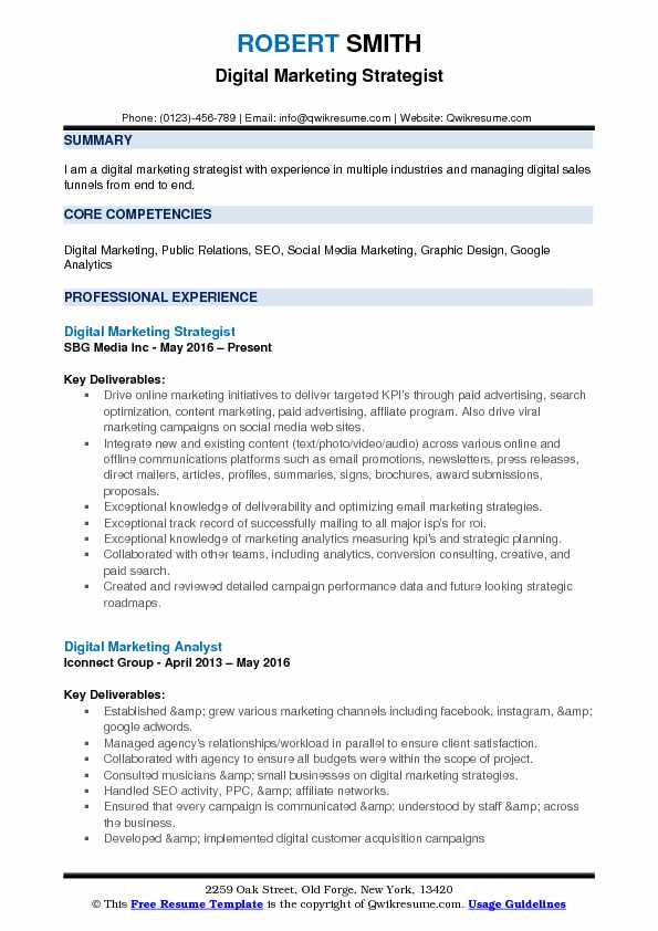 Digital Marketing Strategist Resume Template