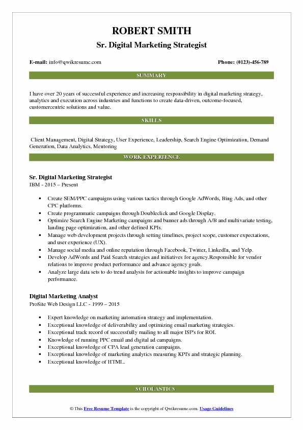 Sr. Digital Marketing Strategist Resume Model