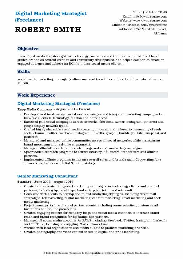 Digital Marketing Strategist (Freelance) Resume Sample