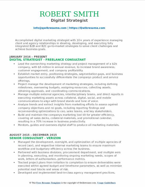 digital strategist resume sample - Digital Strategist Resume