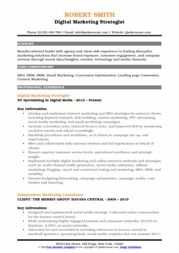 Digital Marketing Strategist Resume Sample