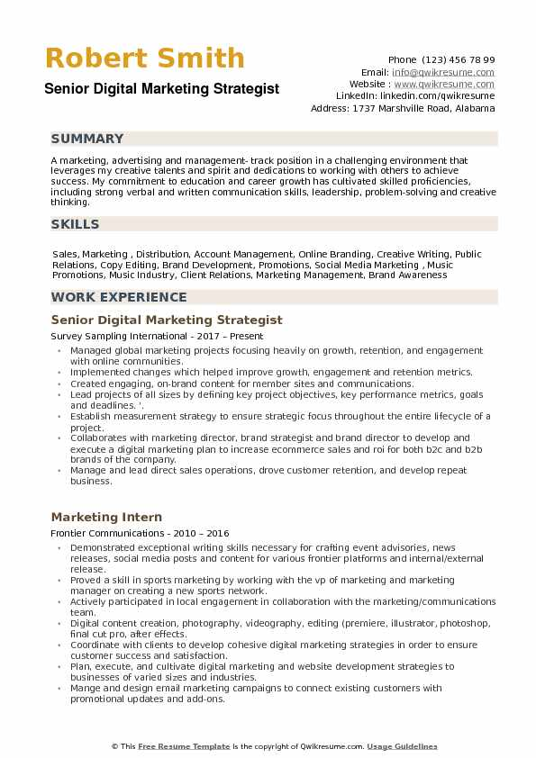 Senior Digital Marketing Strategist Resume Sample