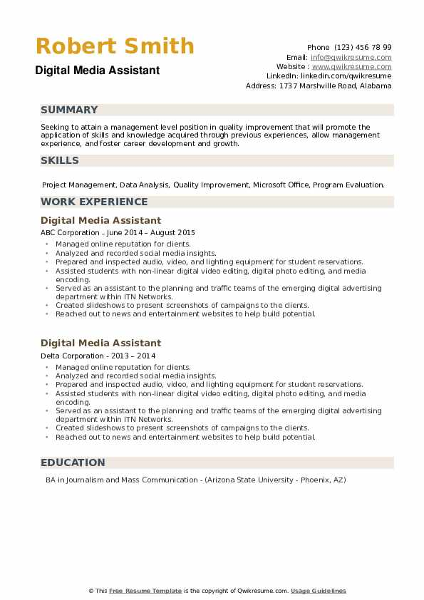 Digital Media Assistant Resume example