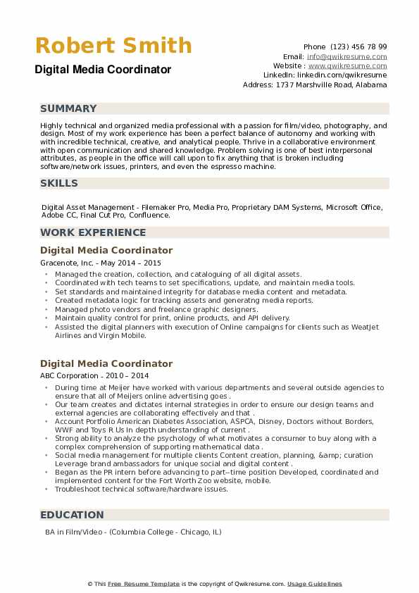 Digital Media Coordinator Resume example