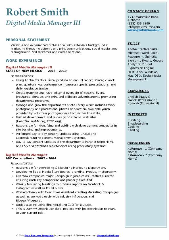 digital media manager resume samples