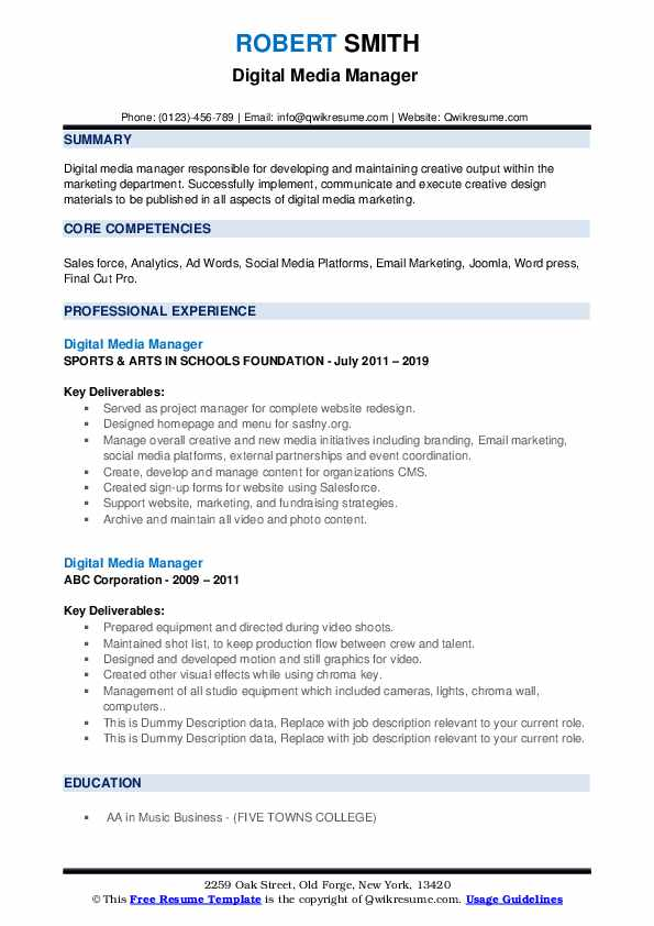 Digital Media Manager Resume example