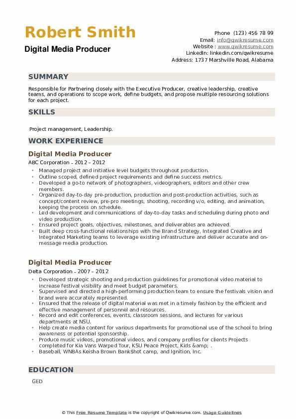 Digital Media Producer Resume example