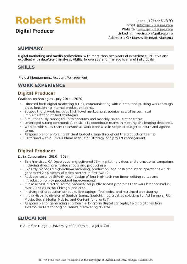 Digital Producer Resume example