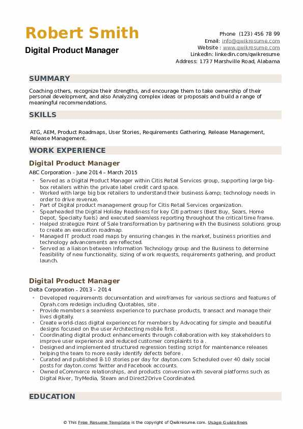Digital Product Manager Resume example
