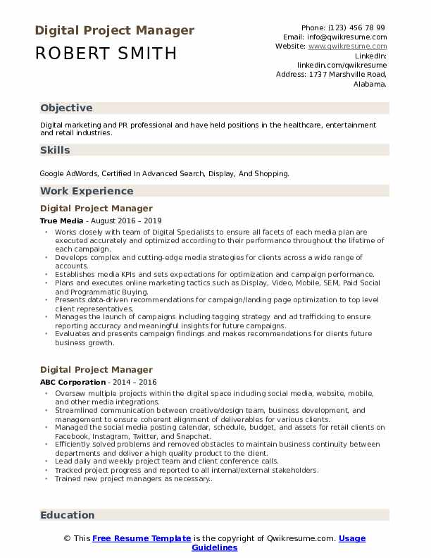 Digital Project Manager Resume Samples Qwikresume