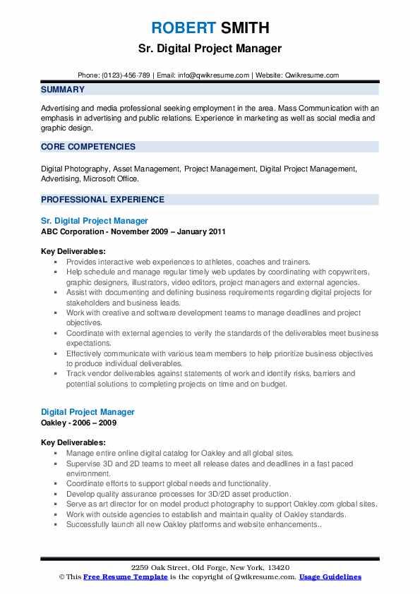 Digital Project Manager Resume Samples Qwikresume