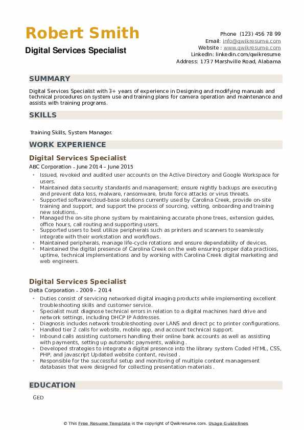 Digital Services Specialist Resume example