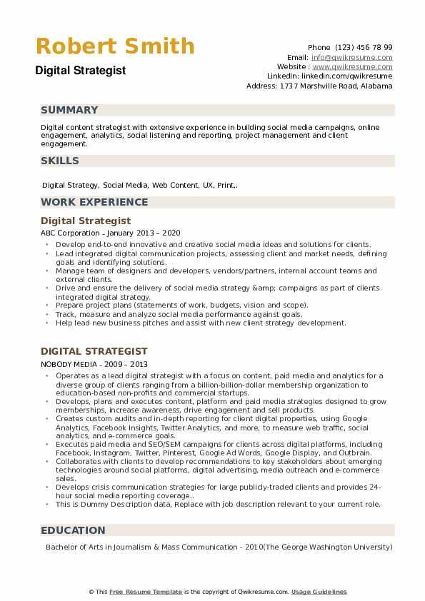 digital strategist resume samples  qwikresume