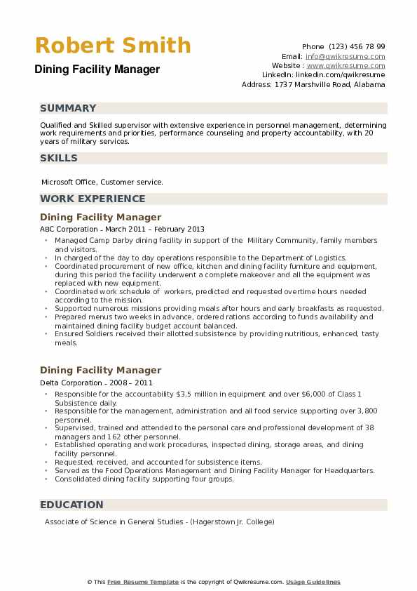 Dining Facility Manager Resume example