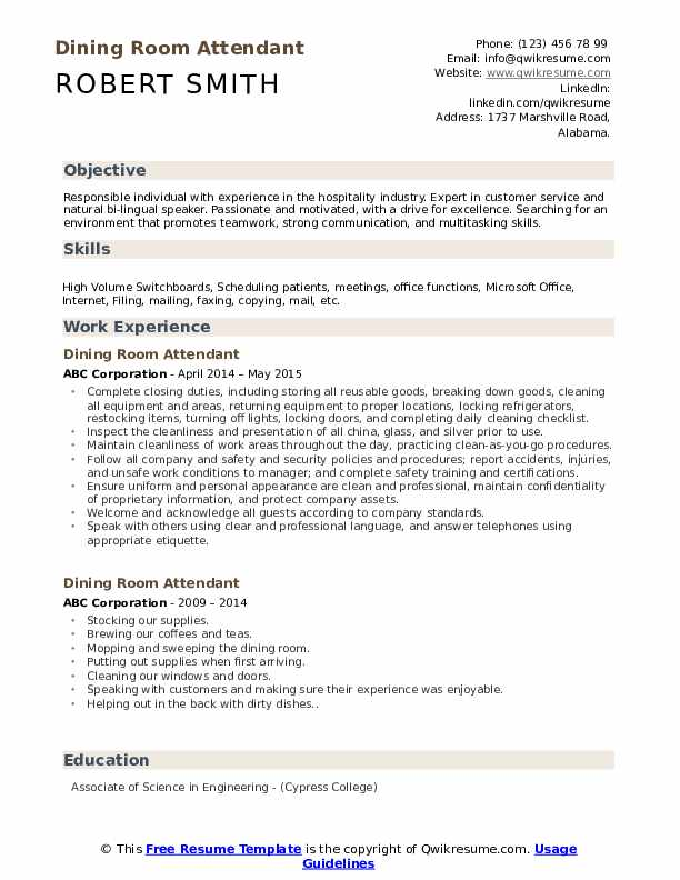 Dining Room Attendant Resume Template