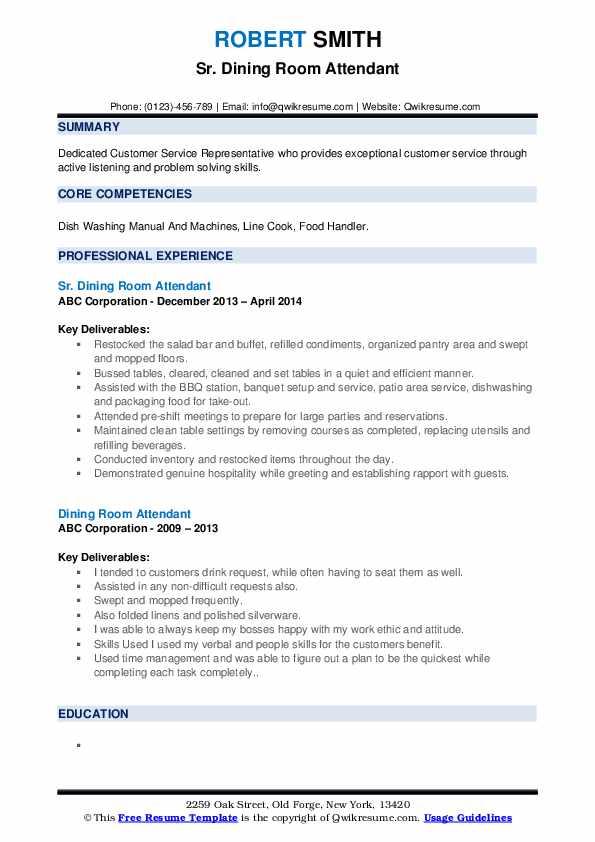 Sr. Dining Room Attendant Resume Format