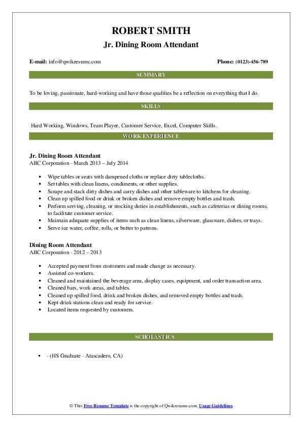 Jr. Dining Room Attendant Resume Sample