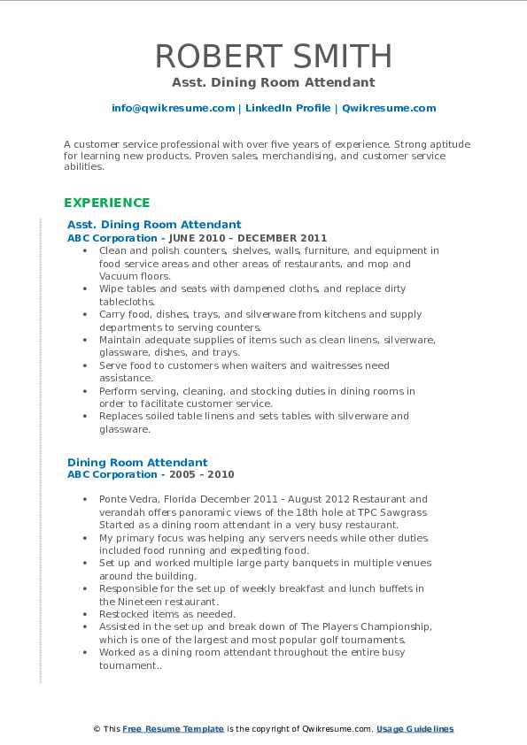 Asst. Dining Room Attendant Resume Format