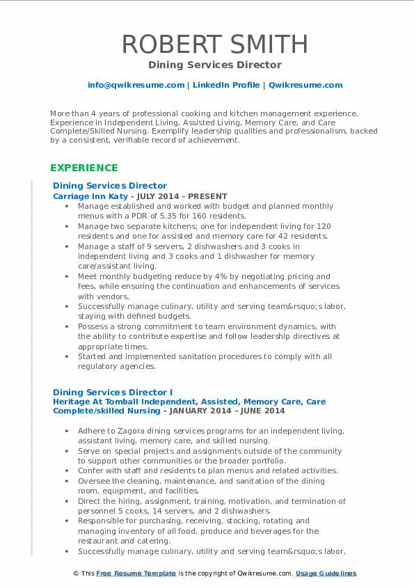 Dining Services Director Resume Model