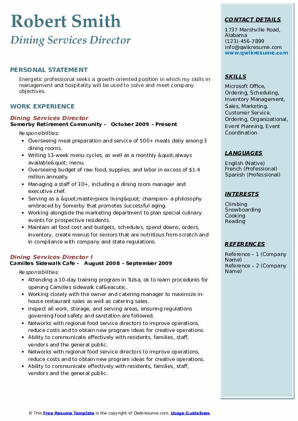 Dining Services Director Resume Example
