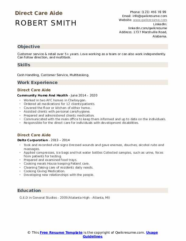 direct care aide resume samples