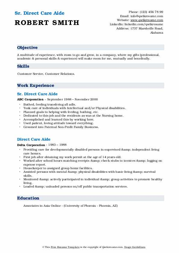 direct care aide resume samples  qwikresume