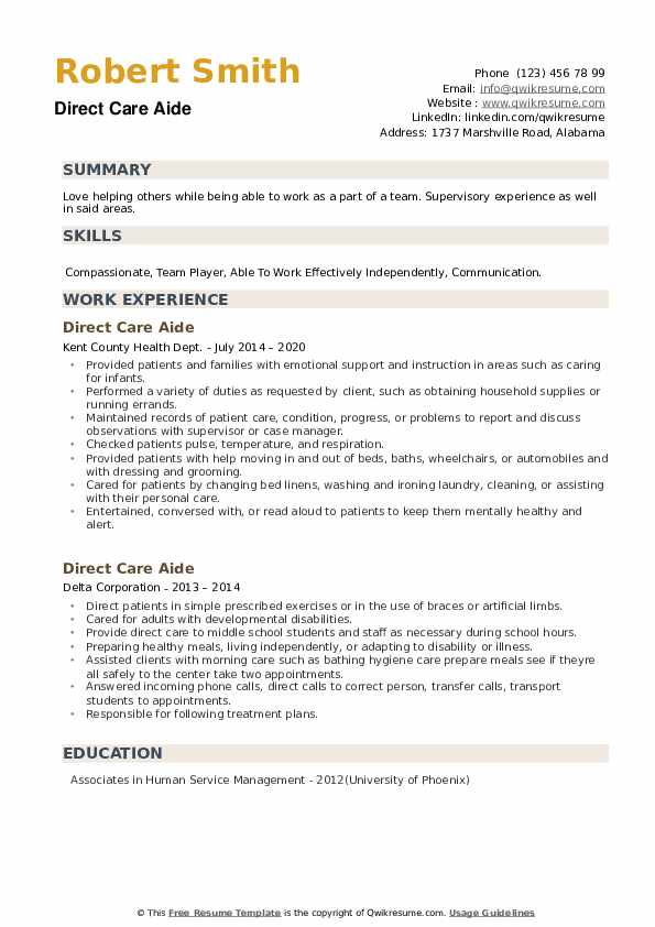 Direct Care Aide Resume example