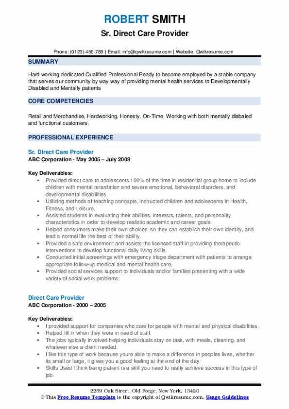 Sr. Direct Care Provider Resume Sample