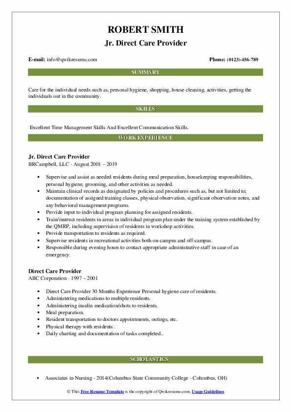 Jr. Direct Care Provider Resume Format