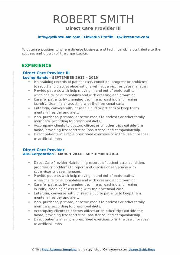 Direct Care Provider III Resume Example