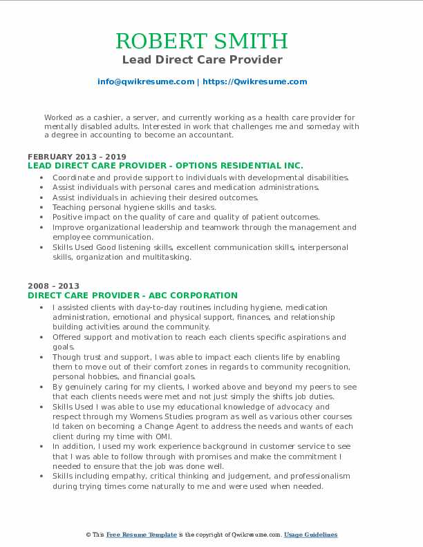Lead Direct Care Provider Resume Example