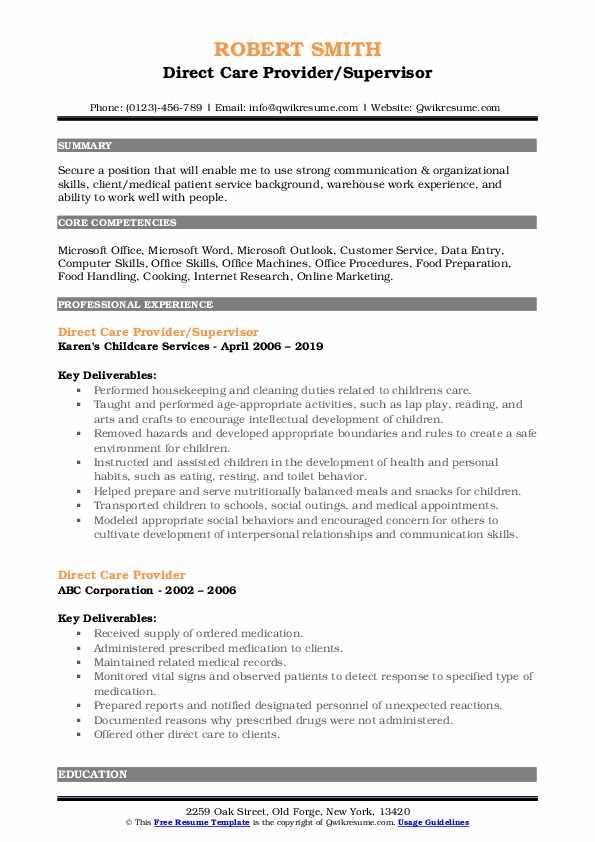 Direct Care Provider/Supervisor Resume Example