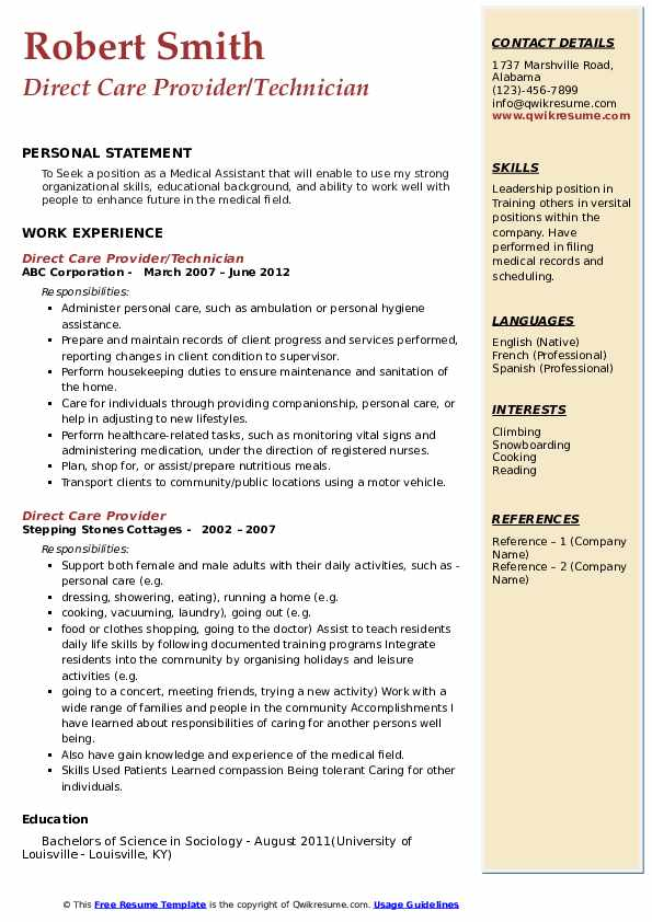 Direct Care Provider/Technician Resume Format