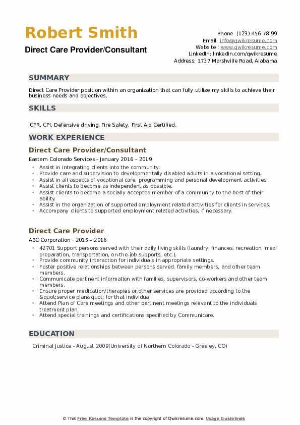 Direct Care Provider/Consultant Resume Sample