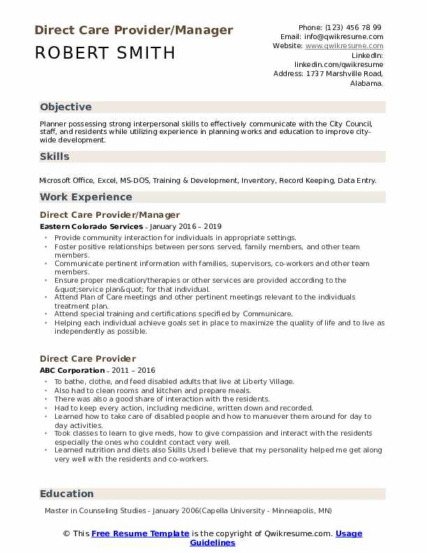 Direct Care Provider/Manager Resume Example