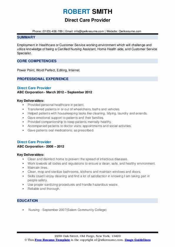 Direct Care Provider Resume example