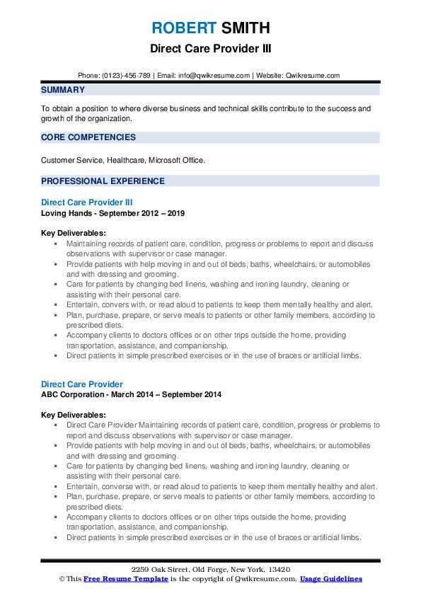 Direct Service Provider III Resume Sample