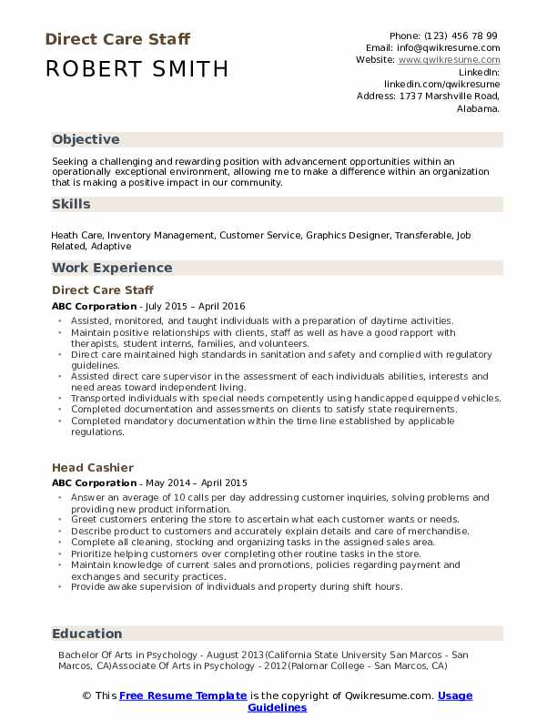 Direct Care Staff Resume Format