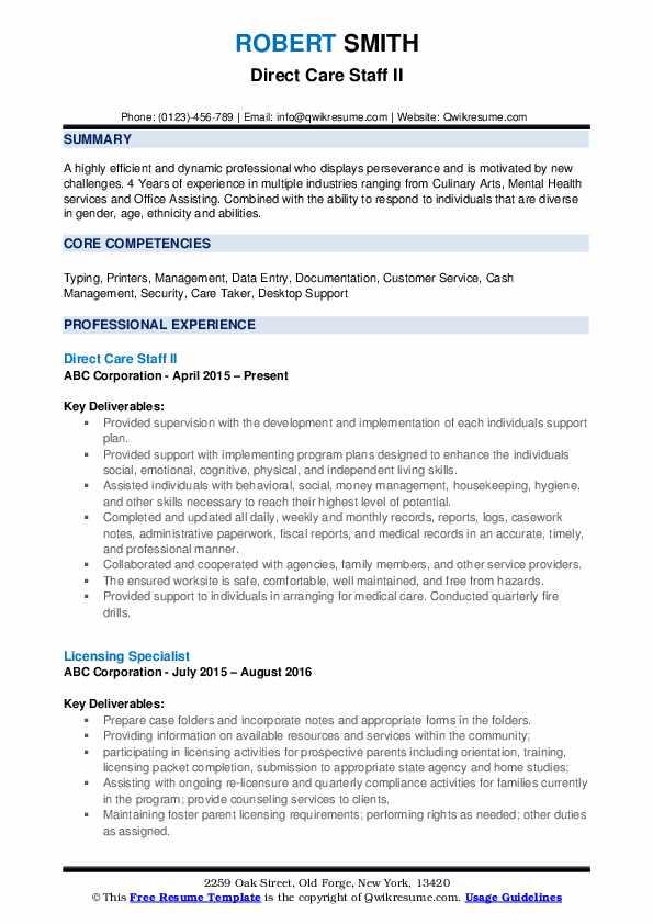 Direct Care Staff II Resume Sample