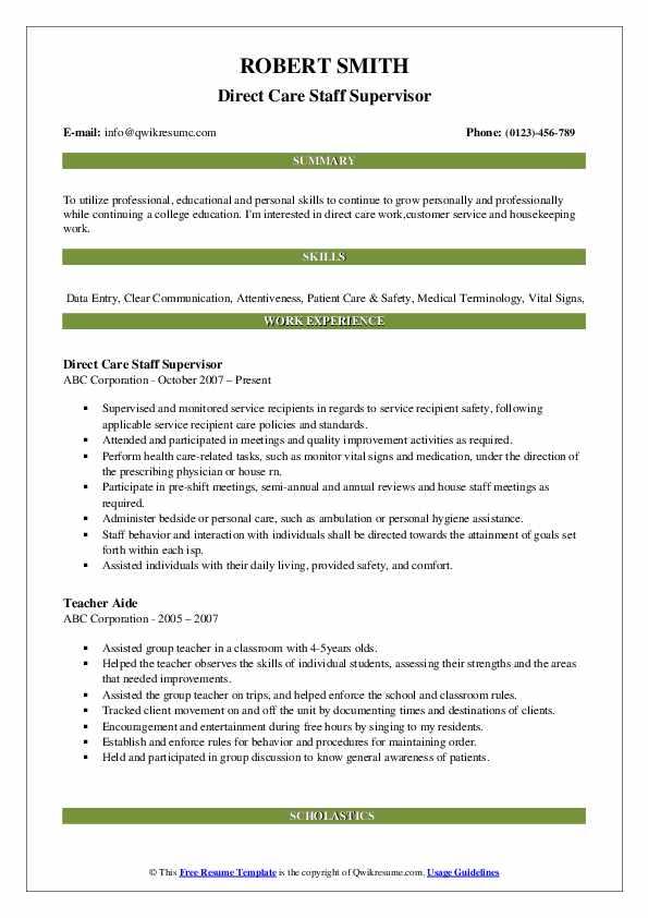 Direct Care Staff Supervisor Resume Sample
