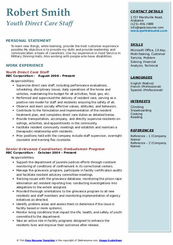 Youth Direct Care Staff Resume Sample