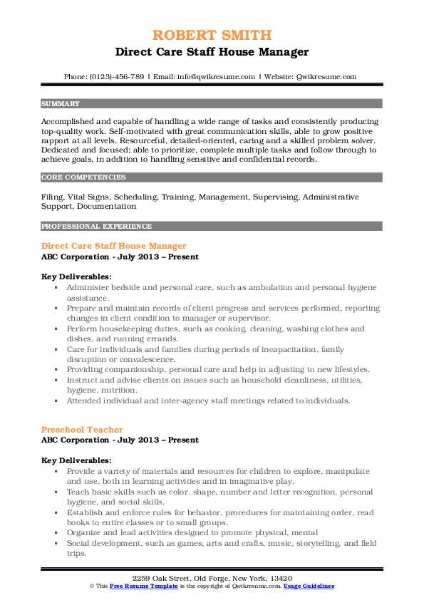 Direct Care Staff House Manager Resume Format