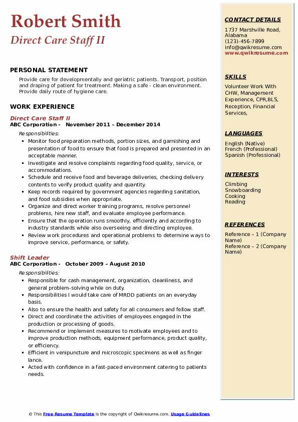 Direct Care Staff II Resume Template
