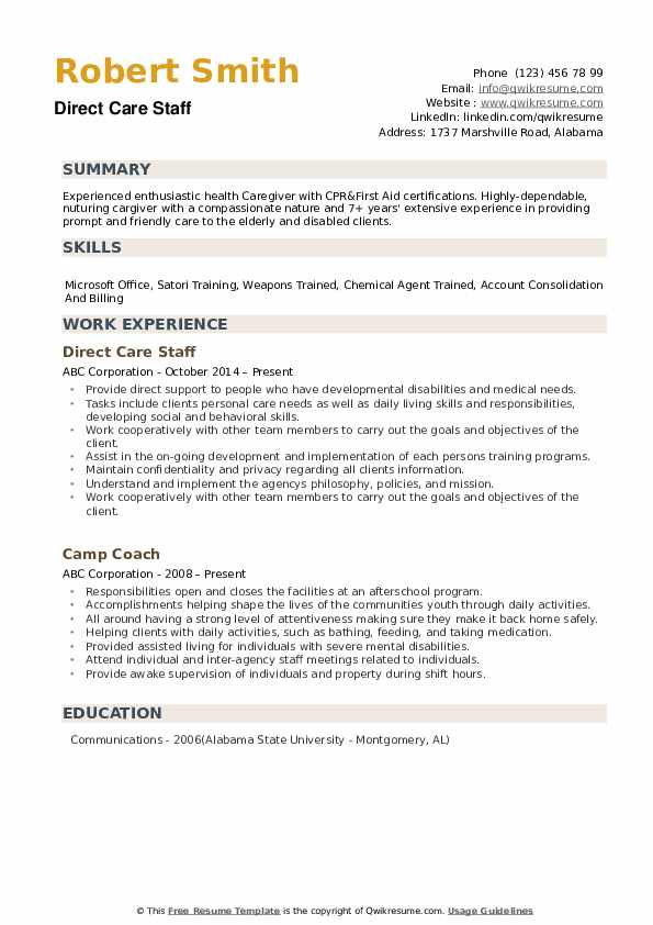 Direct Care Staff Resume example