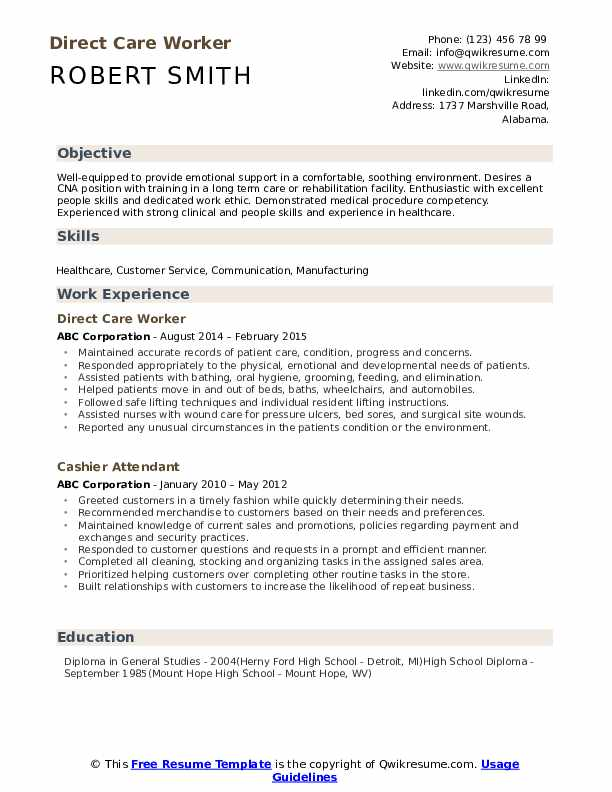 Direct Care Worker Resume Sample