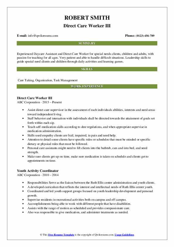 Direct Care Worker III Resume Example