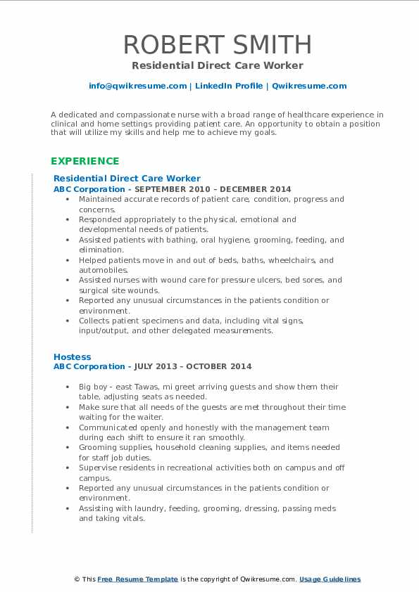 Residential Direct Care Worker Resume Sample