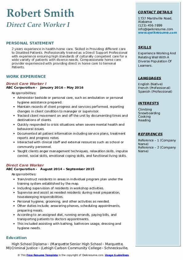 Direct Care Worker I Resume Example