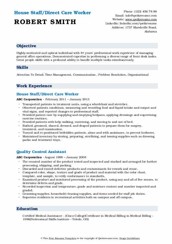 House Staff Direct Care Worker Resume Model