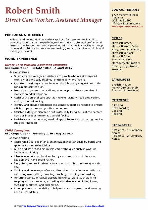 Direct Care Worker, Assistant Manager Resume Sample